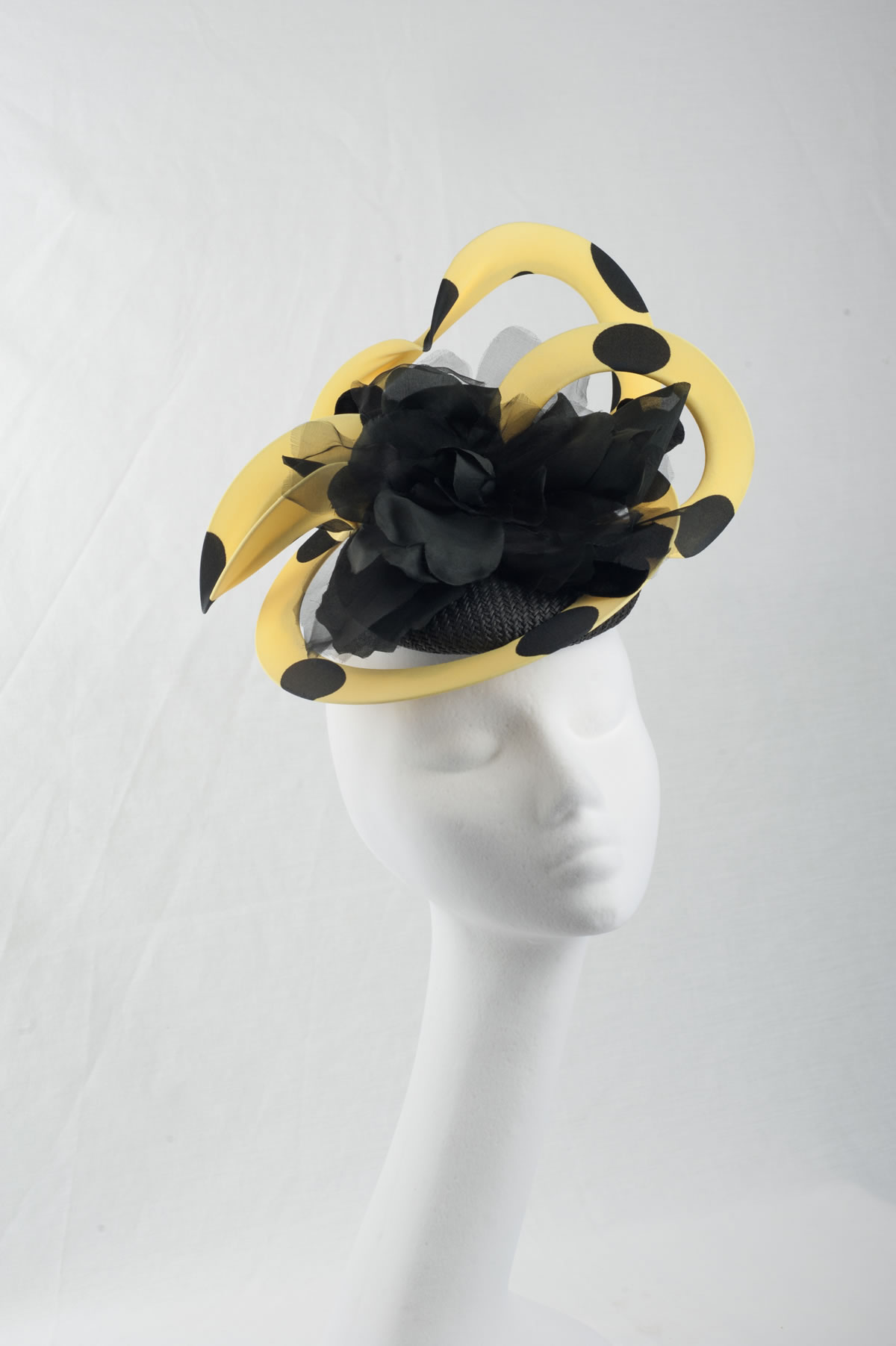 yellow with black dot racing fascinator