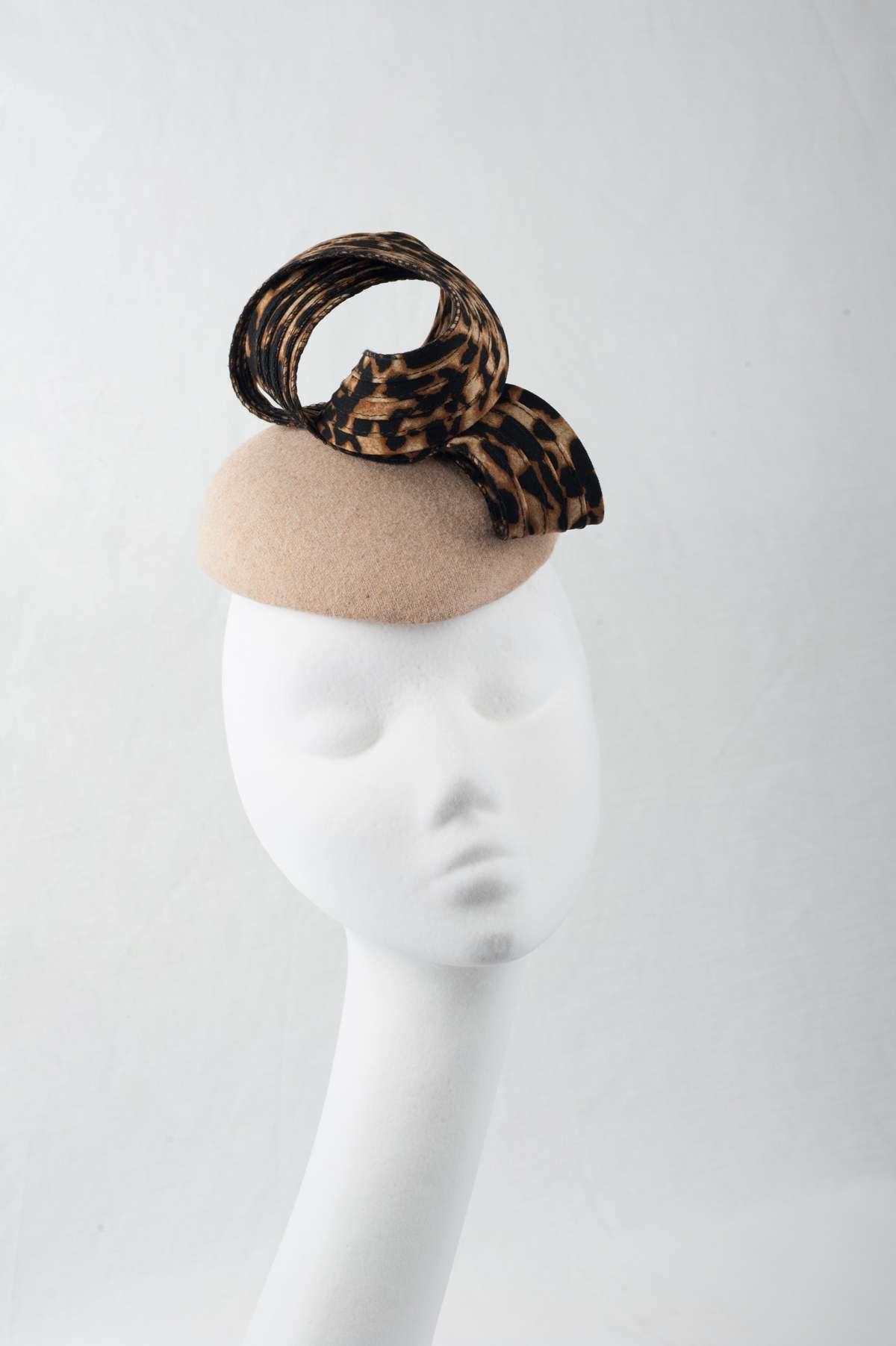 beige & leopard pillbox fascinator - The Hat Box