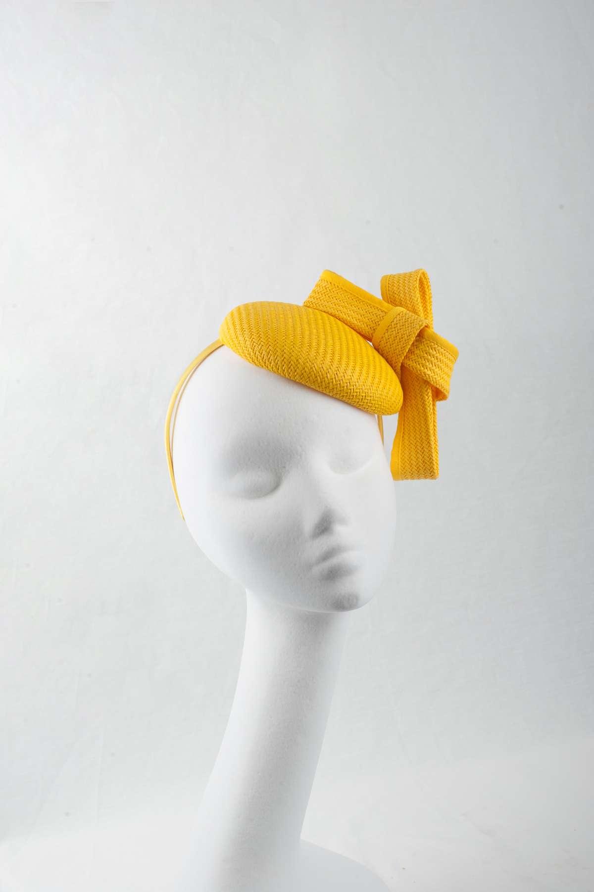 bright yellow racing pillbox fascinator - The Hat Box